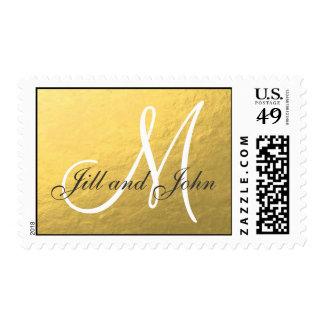 Boda elegante del monograma de la hoja de oro timbres postales