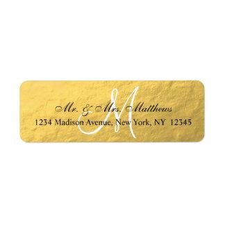 Boda elegante del monograma del negro del oro etiqueta de remitente