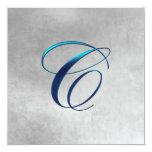 Boda elegante del monograma invitación 13,3 cm x 13,3cm