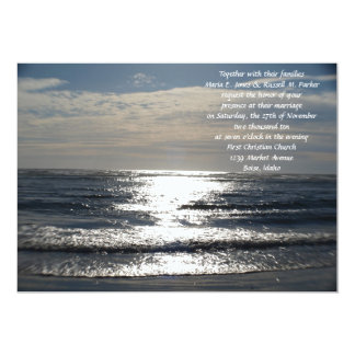 """Boda elegante del océano invitación 5"""" x 7"""""""