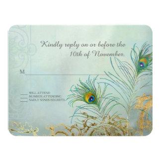 """Boda elegante del oro de la pluma del pavo real de invitación 4.25"""" x 5.5"""""""
