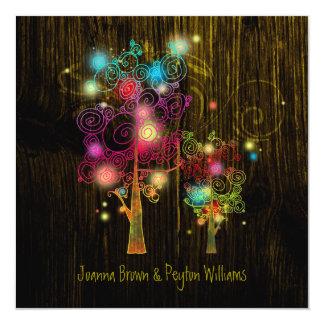 """Boda elegante del país de los árboles místicos invitación 5.25"""" x 5.25"""""""