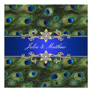 Boda elegante del pavo real del azul real comunicado personalizado