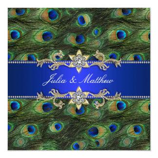 Boda elegante del pavo real del azul real
