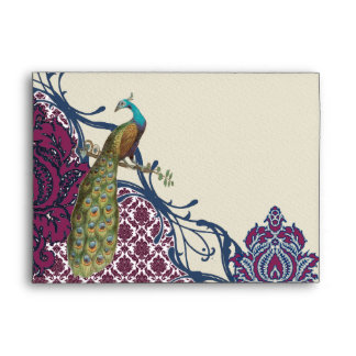 Boda elegante del pavo real del damasco de la baya sobres