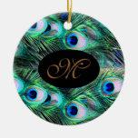Boda elegante del pavo real del día de fiesta de N Ornamento Para Arbol De Navidad