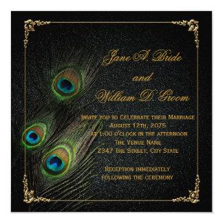 """Boda elegante del pavo real del negro y del oro invitación 5.25"""" x 5.25"""""""