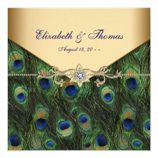 Boda elegante del pavo real del oro invitación 13,3 cm x 13,3cm