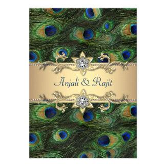 boda elegante del pavo real del verde esmeralda 5x anuncio personalizado