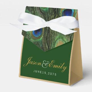 Boda elegante del pavo real del verde esmeralda y cajas para regalos de boda