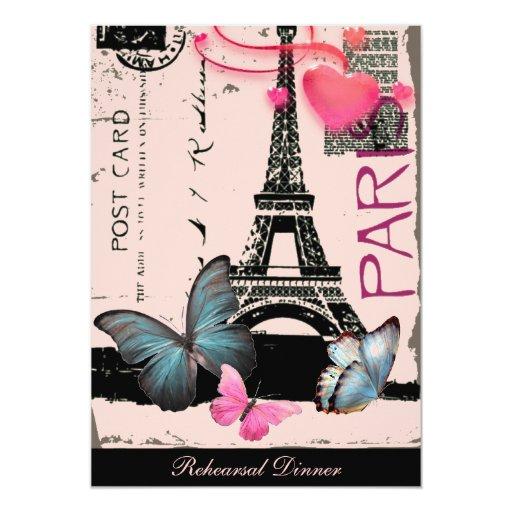 boda elegante del vintage de la torre Eiffel de Comunicado Personalizado