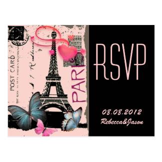 boda elegante del vintage de la torre Eiffel de Postal
