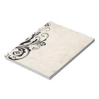 Boda elegante floral blanco y negro bloc de notas