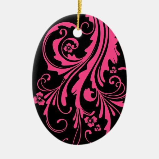 Boda elegante floral de las rosas fuertes y del adorno navideño ovalado de cerámica