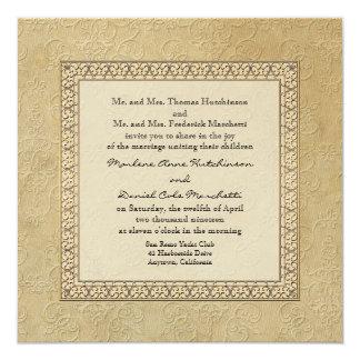 """Boda elegante formal floral del damasco del invitación 5.25"""" x 5.25"""""""