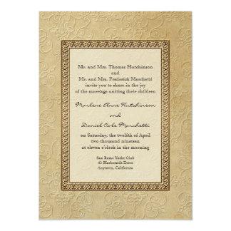 """Boda elegante formal floral del damasco del invitación 5.5"""" x 7.5"""""""