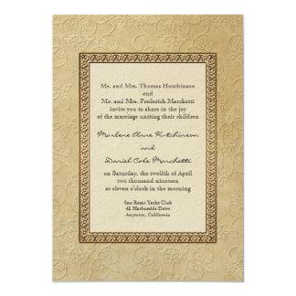 """Boda elegante formal floral del damasco del invitación 5"""" x 7"""""""