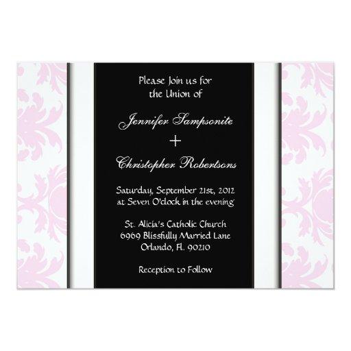 """Boda elegante negro y blanco del damasco rosa invitación 5"""" x 7"""""""