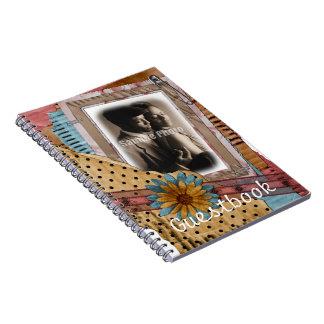 Boda elegante o cuaderno del Guestbook de la ducha