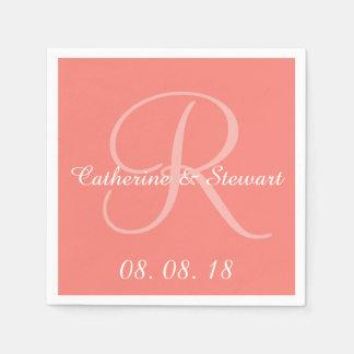 Boda elegante rosado coralino del diseño del color servilleta desechable