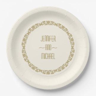 Boda elegante simple del vintage del oro y de la platos de papel