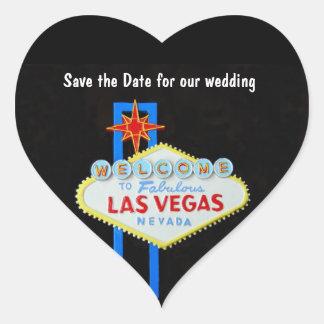 Boda en forma de corazón de Las Vegas Pegatina En Forma De Corazón