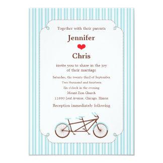 """Boda en tándem de la bici (rayas azules) invitación 5"""" x 7"""""""