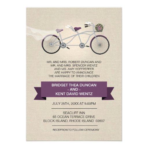 Boda en tándem de la bicicleta del falso ciruelo comunicados personalizados