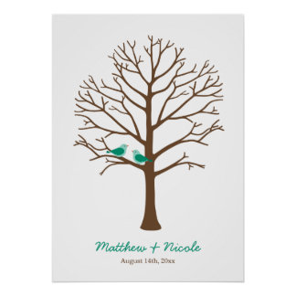 Boda esmeralda del árbol de la huella dactilar de impresiones