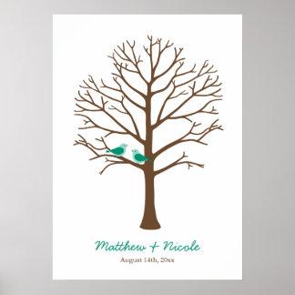 Boda esmeralda del árbol de la huella dactilar de póster