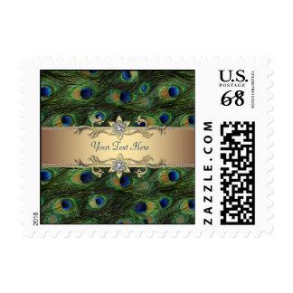 Boda esmeralda del pavo real del oro verde timbres postales
