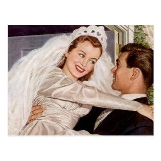 Boda feliz de los pares del novio de la novia del  tarjeta postal
