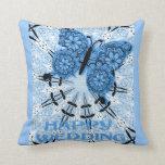 Boda feliz, mariposa azul clara almohadas