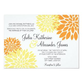 """Boda floral amarillo claro anaranjado elegante de invitación 5"""" x 7"""""""