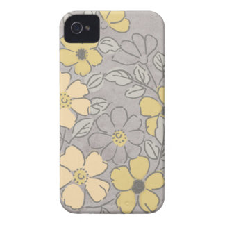 Boda floral amarillo y gris del vintage Case-Mate iPhone 4 protectores