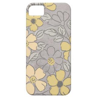 Boda floral amarillo y gris del vintage iPhone 5 fundas
