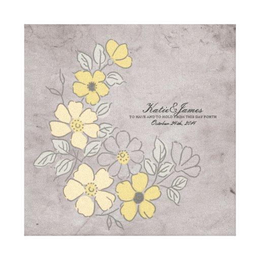 Boda floral amarillo y gris del vintage impresión en lona estirada