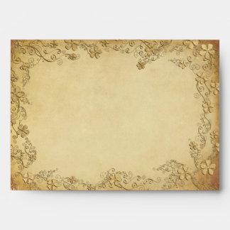 Boda floral antiguo del vintage sobres