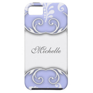 Boda floral azul claro y blanco del damasco iPhone 5 fundas