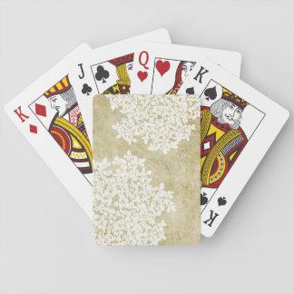 Boda floral blanco del vintage barajas de cartas