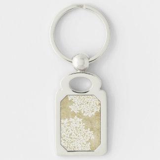 Boda floral blanco del vintage llavero plateado rectangular