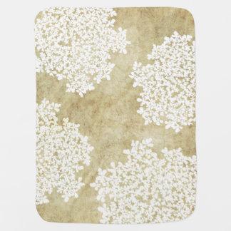 Boda floral blanco del vintage manta de bebé