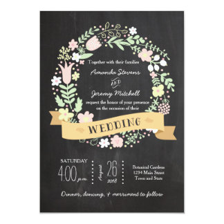 Boda floral caprichoso de la pizarra de la invitación 12,7 x 17,8 cm