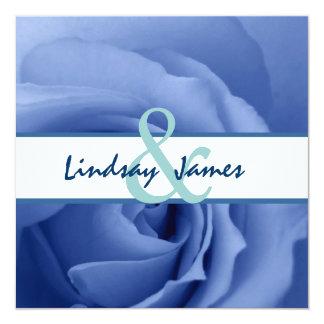 "Boda floral color de rosa azul soñador invitación 5.25"" x 5.25"""