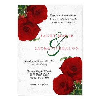 """Boda floral color de rosa de color rojo oscuro invitación 5"""" x 7"""""""