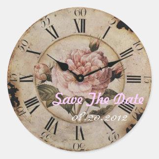 Boda floral color de rosa rosado del steampunk del pegatina redonda