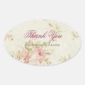 boda floral color de rosa rosado elegante del pegatina ovalada