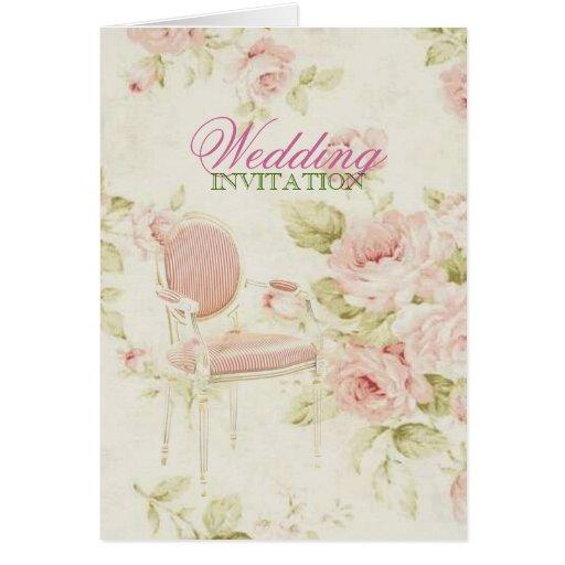 boda floral color de rosa rosado elegante del tarjeta de felicitación