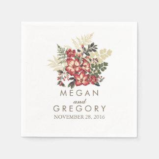 boda floral de Borgoña de la caída del vintage Servilleta Desechable