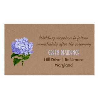 Boda floral de Kraft de los Hydrangeas rústicos Tarjetas De Visita